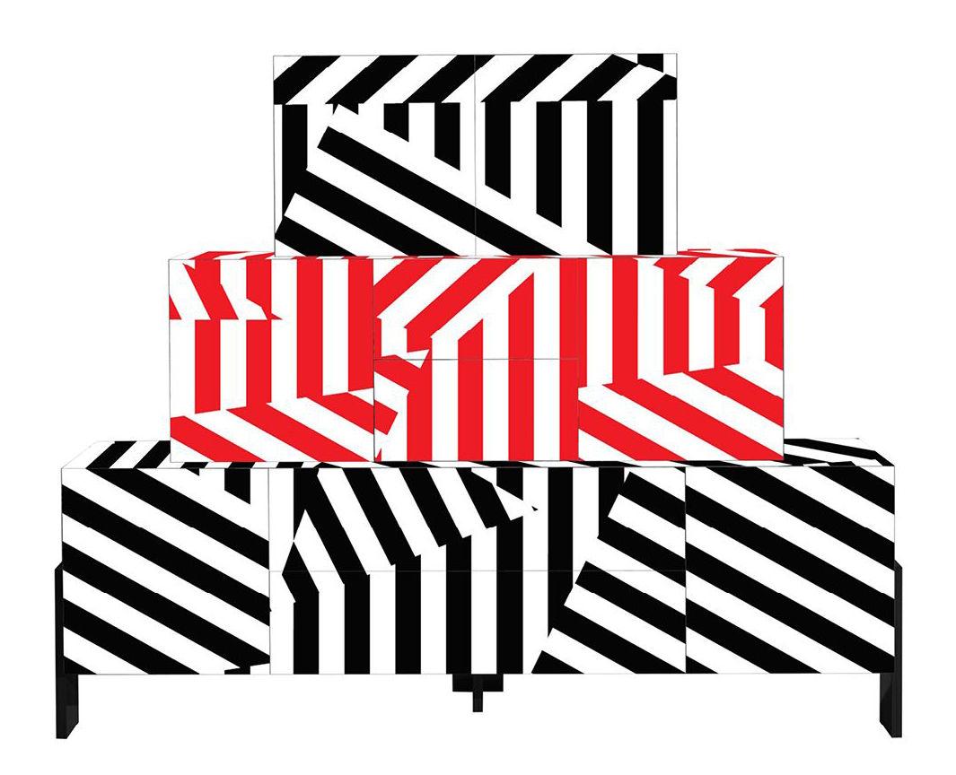 Mobilier - Commodes, buffets & armoires - Buffet Ziqqurat / L 246 x H 200 cm - Driade - Rayé / Noir & rouge - Bois laqué, HPL, MDF laqué