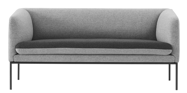 Mobilier - Canapés - Canapé droit Turn / L 160 cm - 2 places - Ferm Living - Gris clair / Gris foncé - Coton, Métal laqué, Mousse, Polyester