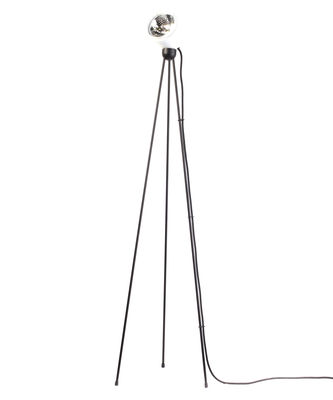 Lighting - Floor lamps - Tripod180° Touch Floor lamp - / halogen by Azimut Industries - White / black cord - Lacquered metal