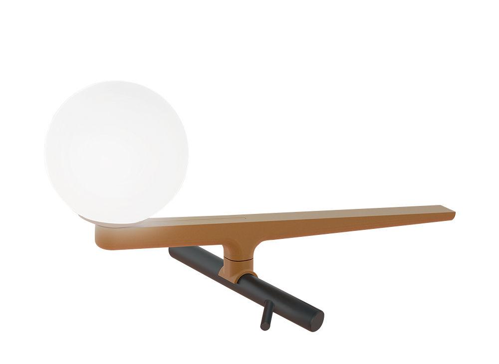 Illuminazione - Lampade da tavolo - Lampada da tavolo Yanzi LED - / Ottone & vetro di Artemide - Nero & ottone / Sfera bianca - Acciaio laccato, Ottone, vetro soffiato