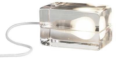 Luminaire - Lampes de table - Lampe de table Block Lamp L 16 cm - Design House Stockholm - Transparent /Cordon blanc - Verre
