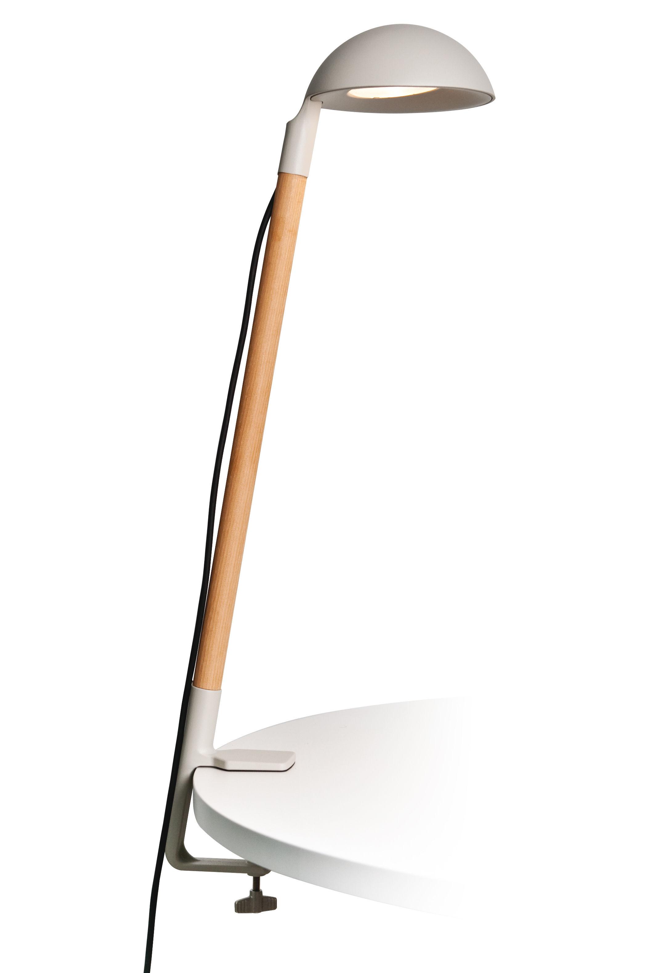 Luminaire - Lampes de table - Lampe Tools LED Indoor / Base étau - H 88 cm - Roger Pradier - Gris clair - Aluminium, Bois d'acacia