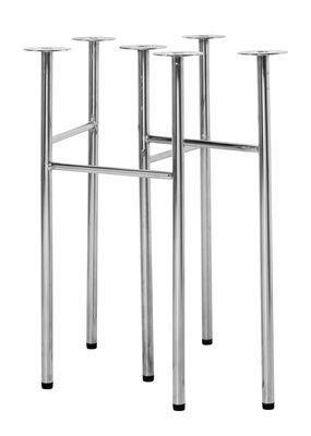 Paire tréteaux Mingle Small / L 48 cm - Ferm Living chromé en métal