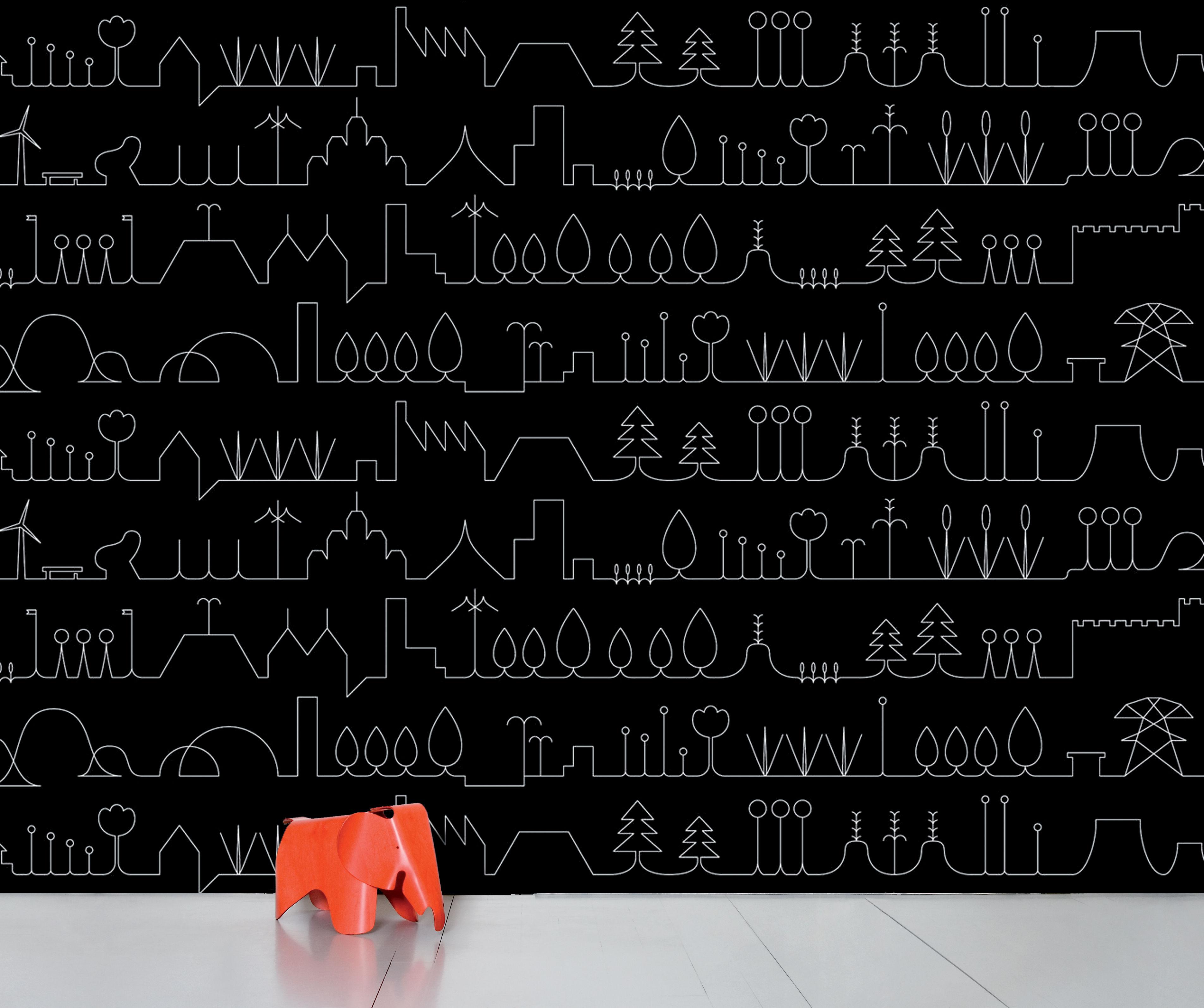Dekoration - Stickers und Tapeten - WallpaperLab Promenade Panorama-Tapete / 8 Bahnen - limitierte Auflage - Domestic - Promenade / schwarz & weiß - imprägniertes Papier