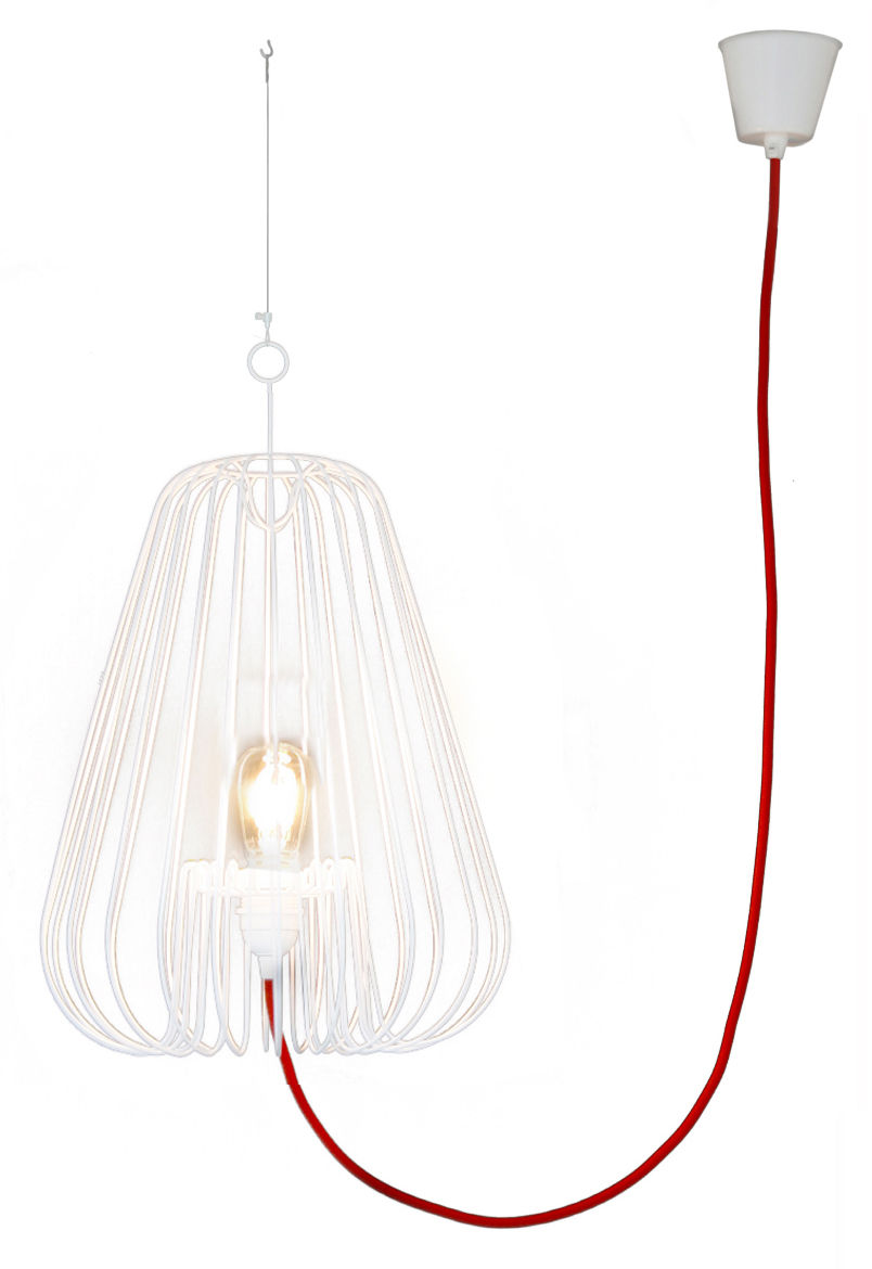 Lighting - Pendant Lighting - Big Light Cage Pendant - H 80 cm by La Corbeille - White / red wire - Lacquered metal