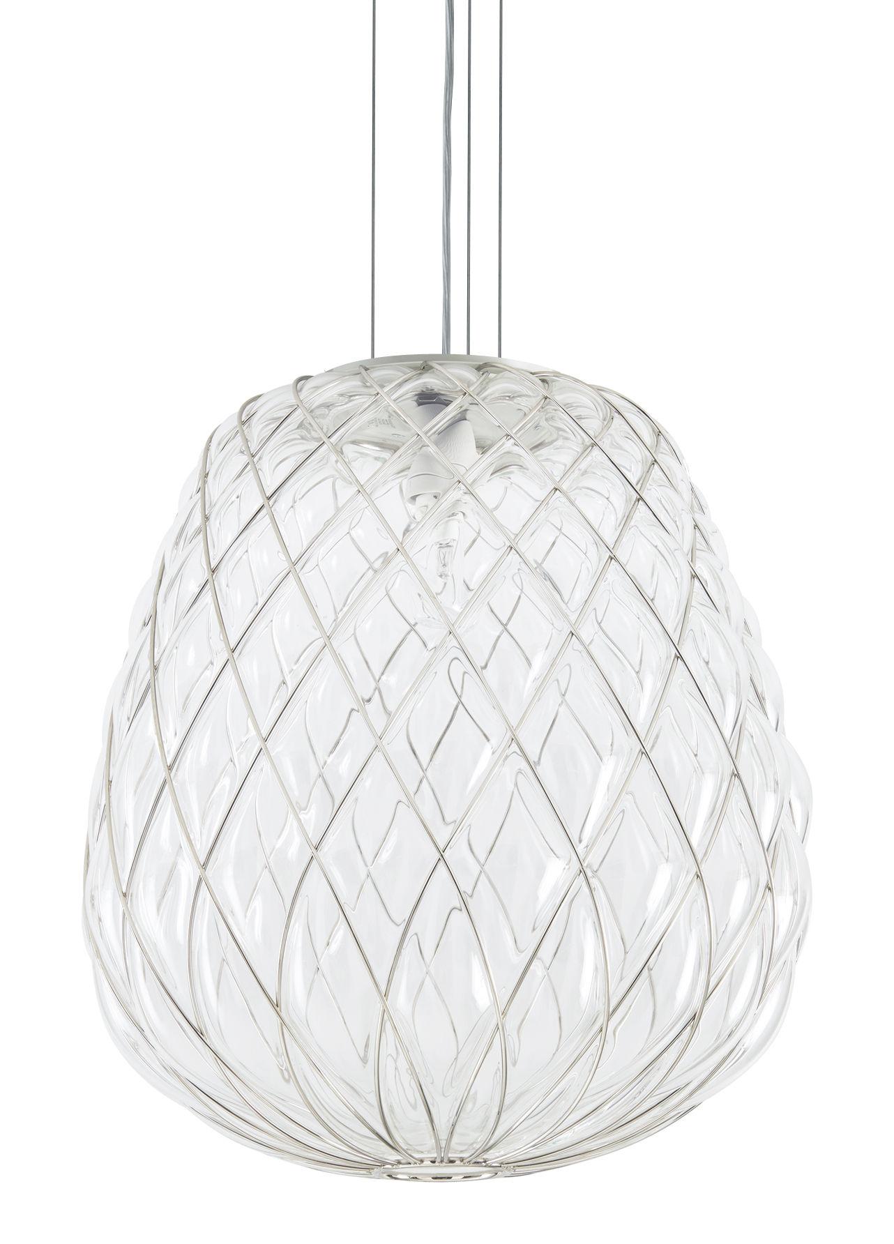 Lighting - Pendant Lighting - Pinecone Pendant - H 52 cm - Glass & metal mesh by Fontana Arte - Transparent / Metal mesh - Metal, Mouth blown glass