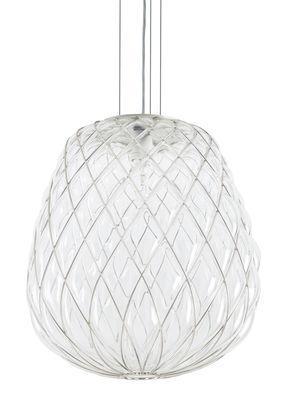 Pinecone Pendelleuchte / Ø 50 x H 50 cm - Glas & Metallgitter - Fontana Arte - Transparent,Metall