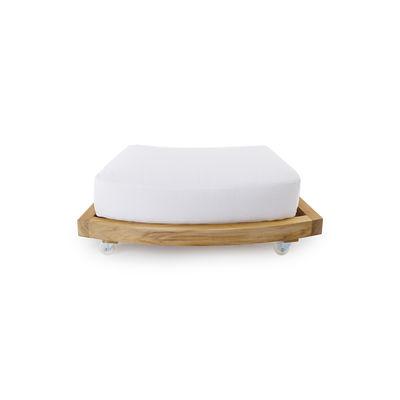 Image of Poggiapiedi - / Tavolo basso con rotelle / Per Divano tondo Pevero di Unopiu - Legno naturale - Legno