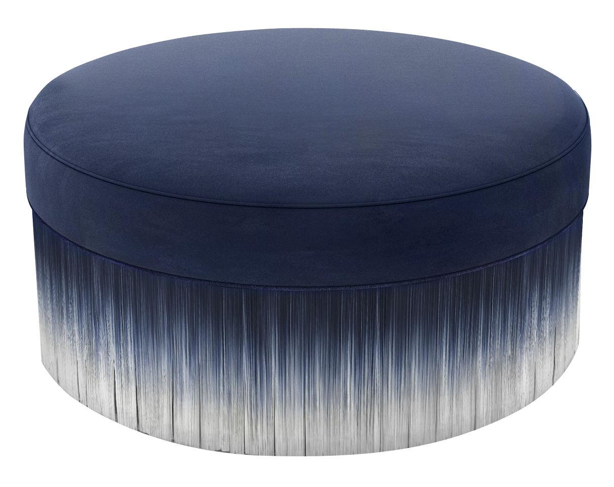 Mobilier - Poufs - Pouf Amami / Ø 80 cm - Velours et franges - Moooi - Ø 80 cm / Bleu - Bois, Mousse, Velours