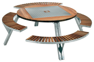 Outdoor - Garden Tables - Gargantua Round table - Adjustable table and bench set by Extremis - Teak / steel - Galvanized steel, Iroko wood