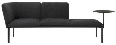 Möbel - Sofas - ADD Sofa / 3-Sitzer, L 187 cm - abnehmbares Ablagetischchen - Lapalma - Grau-anthrazit / Gestell schwarz - Kvadrat-Gewebe, lackiertes Metall, Polyurethan-Schaum