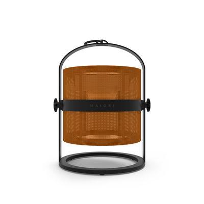 Leuchten - Tischleuchten - La Lampe Petite LED Solarlampe / kabellos - Gestell schwarz - Maiori - Orange / Gestell schwarz - Aluminium, Technisches Gewebe