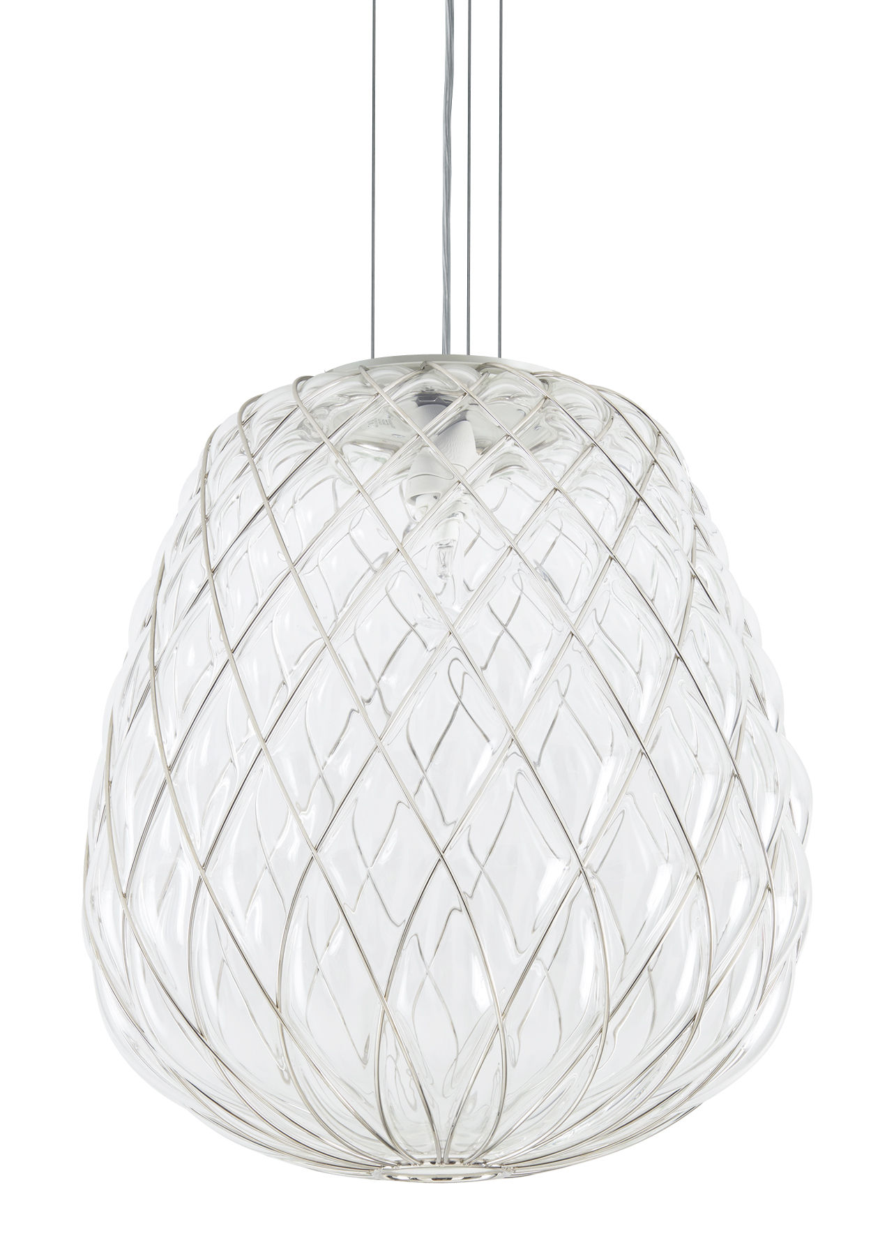 Illuminazione - Lampadari - Sospensione Pinecone / Ø 50 x H 50 cm - Vetro & rete metallica - Fontana Arte - Trasparente / Rete metallica - Metallo, Vetro soffiato a bocca