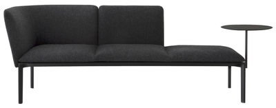 Furniture - Sofas - ADD Straight sofa - 3 seats - Removable shelf - L 187 cm by Lapalma - Anthracite Grey / Black structure - Kvadrat fabric, Lacquered metal, Polyurethane foam