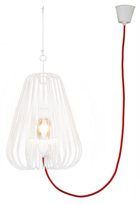 Luminaire - Suspensions - Suspension Big Light Cage H 80 cm - La Corbeille - Blanc / cordon rouge - Métal laqué