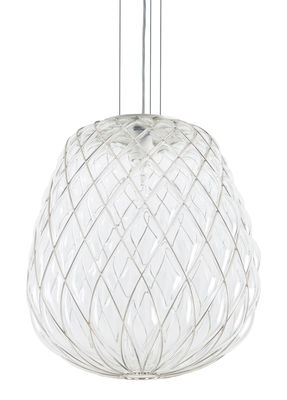 Suspension Pinecone / Ø 50 x H 50 cm - Verre & résille métal - Fontana Arte transparent,métal en verre