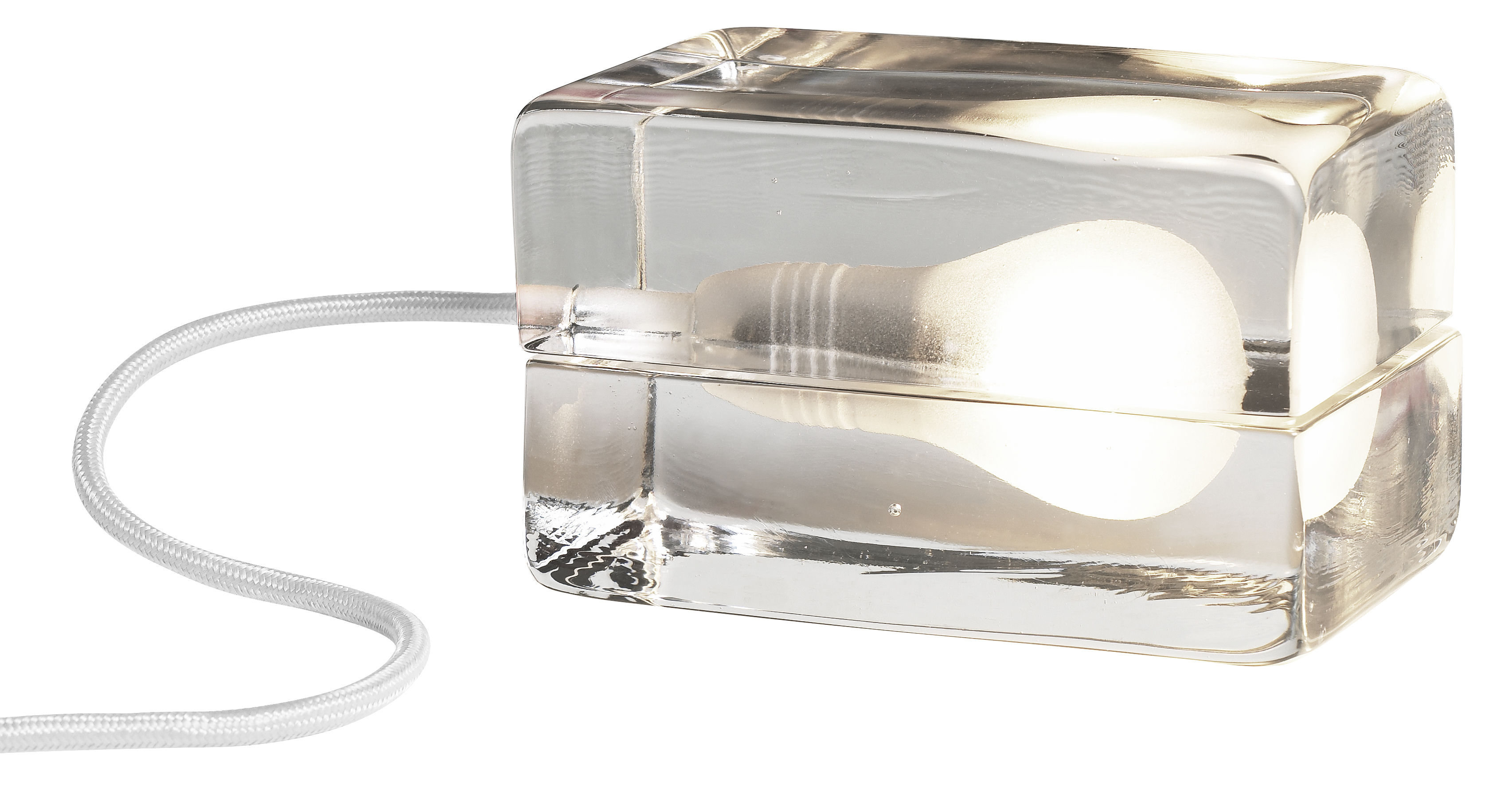 Lighting - Table Lamps - Block Lamp Table lamp by Design House Stockholm - Transparent / White cable - Glass
