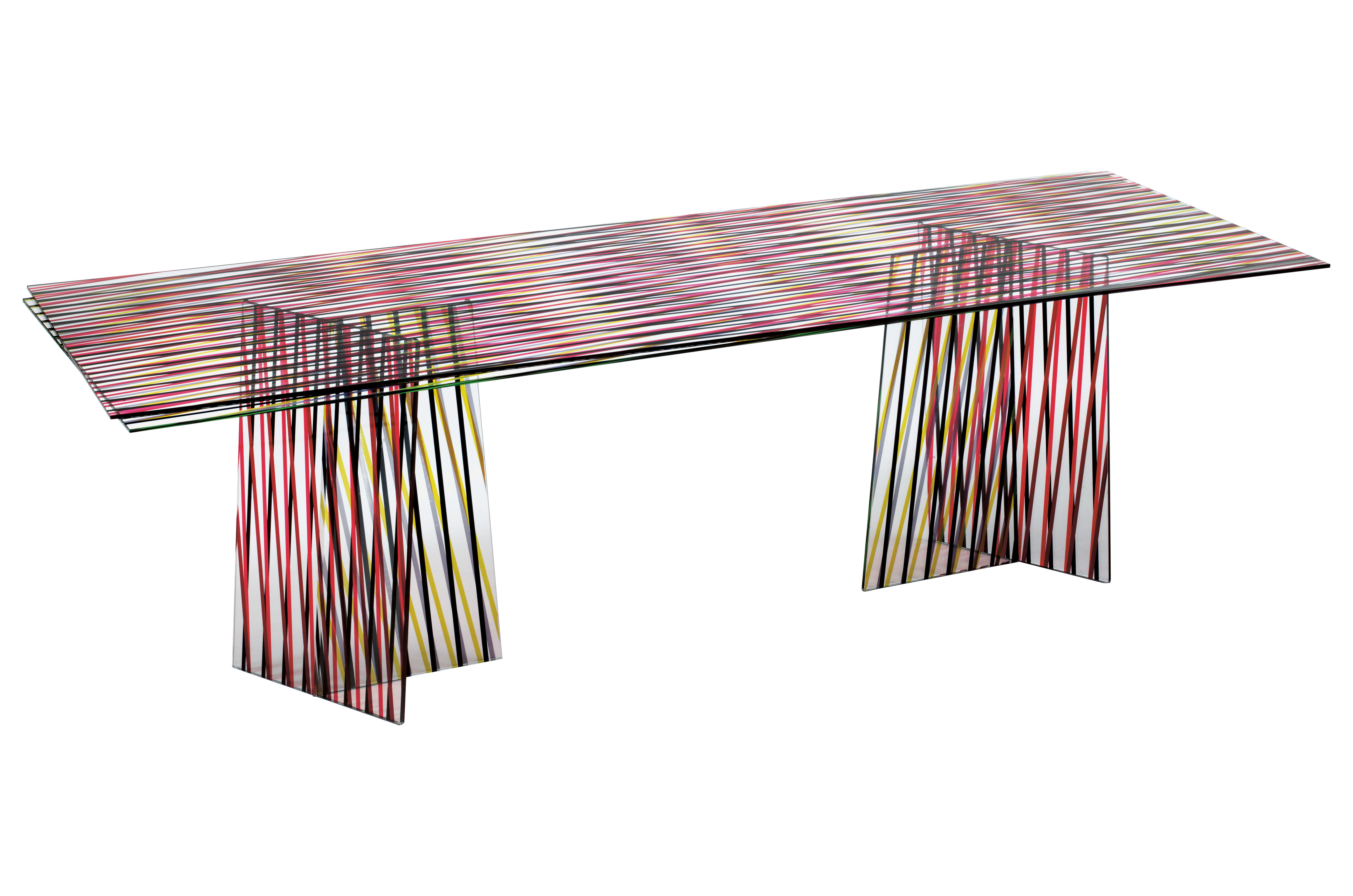 Mobilier - Tables - Table rectangulaire Crossing / 200 x 92 cm - Glas Italia - Rayures larges - Tons rouges - Verre