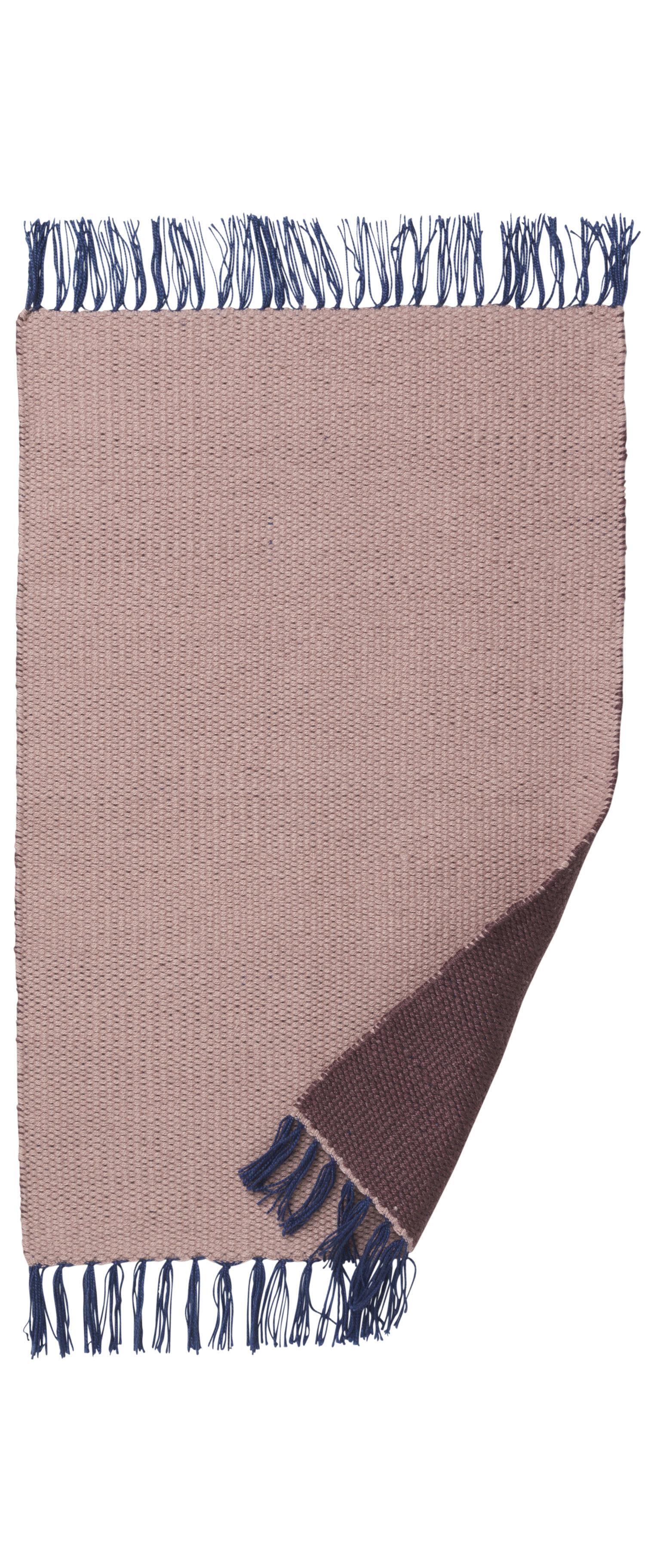 Déco - Tapis - Tapis d'extérieur Nomad Small / 60 x 90 cm - Ferm Living - Rose pâle / Bordeaux - Polyester recyclé