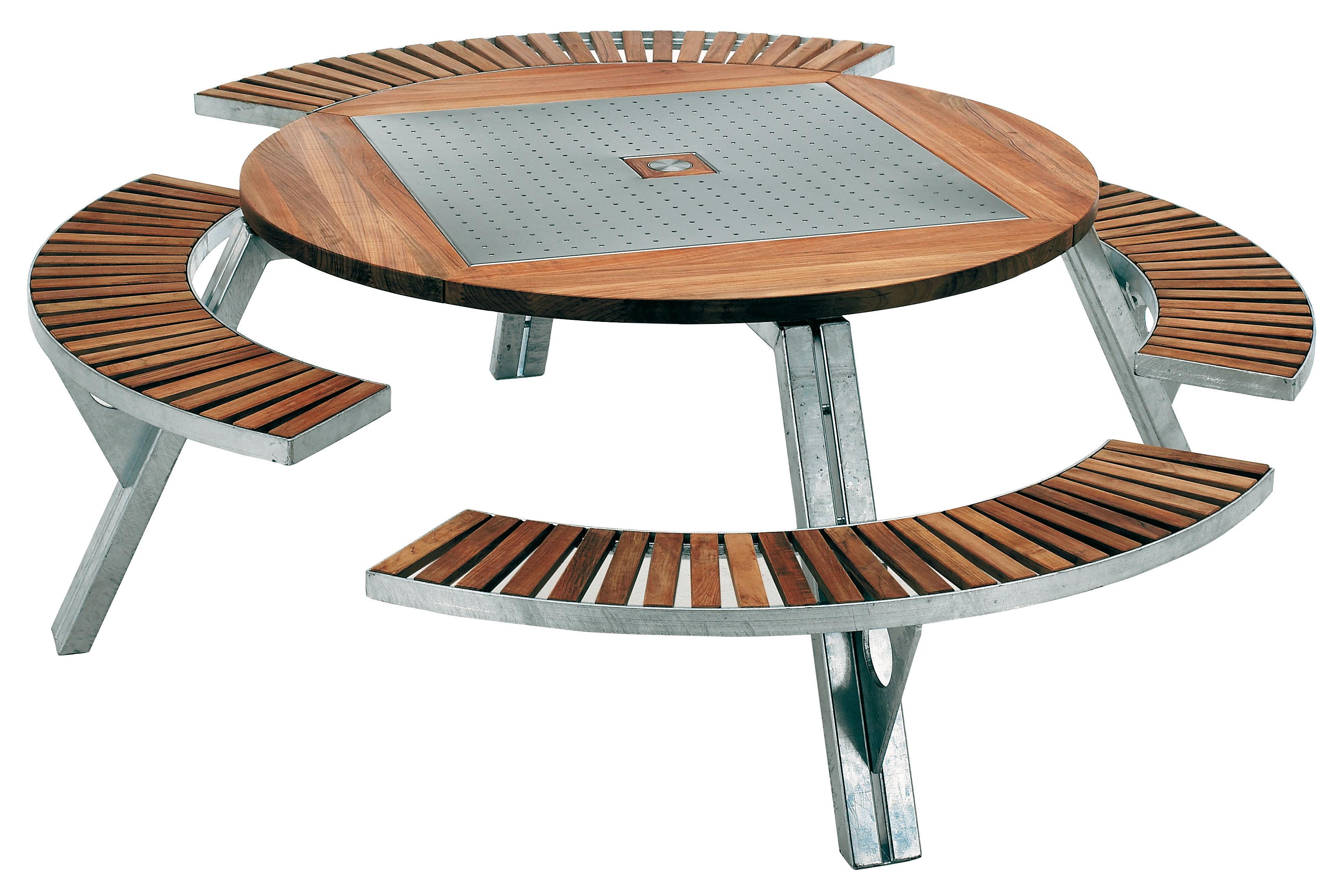 Outdoor - Tavoli  - Tavolo rotondo Gargantua - Set tavolo e panchina regolabile in altezza di Extremis - Teck / acciaio - Acciaio galvanizzato, Legno di iroko
