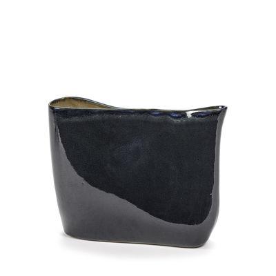 Déco - Vases - Vase Anita Bas / H 24 cm - Fait main - Serax - Bleu foncé - Grès émaillé