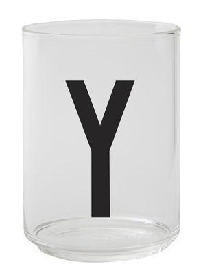 Verre Arne Jacobsen / Verre borosilicaté - Lettre Y - Design Letters transparent en verre