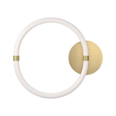 Leuchten - Wandleuchten - Unseen LED - O Wandleuchte / Ø 34 cm - Petite Friture - Weiß & Messing - Messing, Polykarbonat