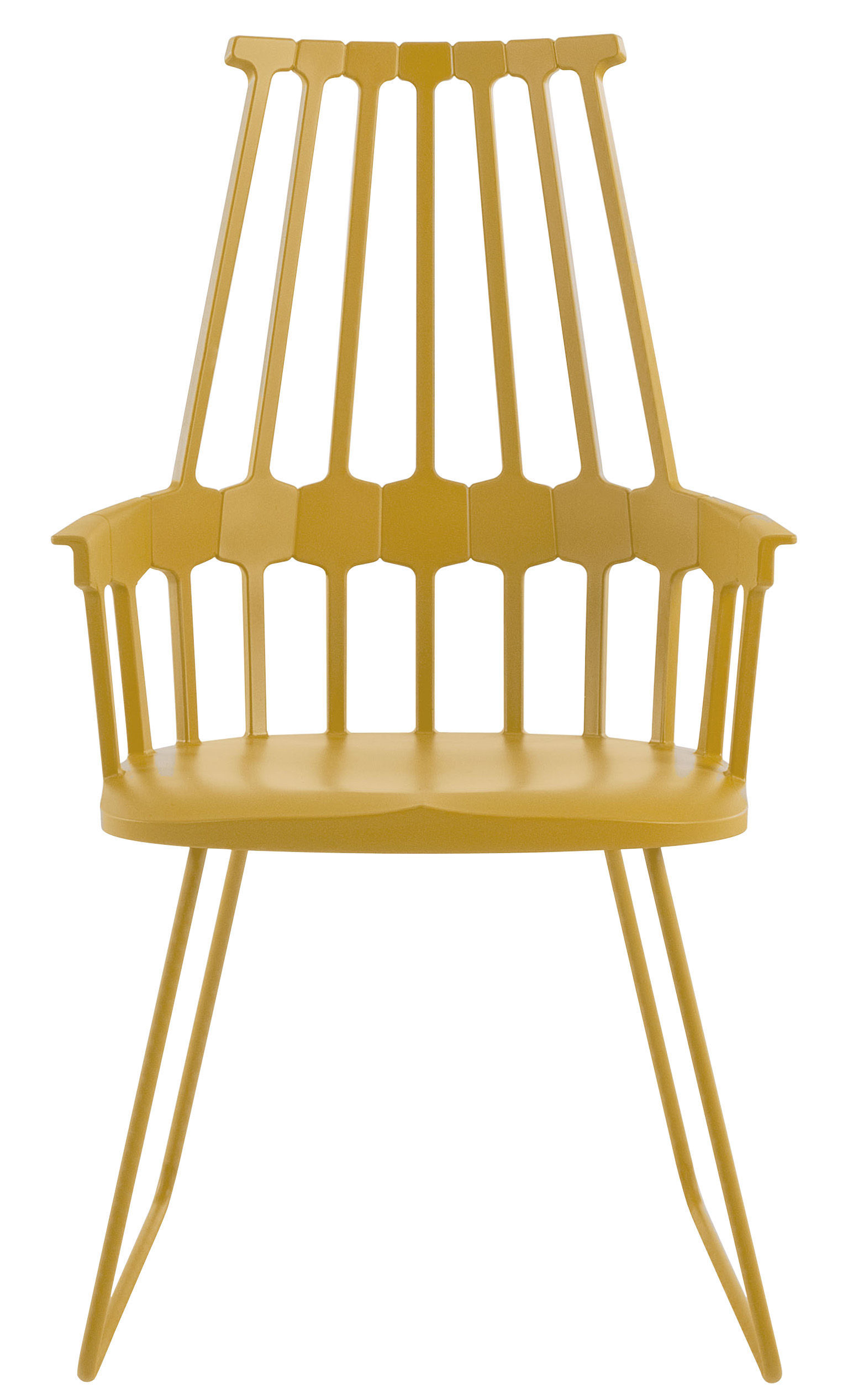 Furniture - Comback Armchair - Polycarbonate & metal sledge leg by Kartell - Yellow - Polycarbonate, Steel