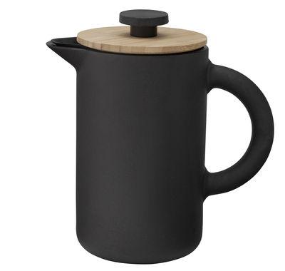 Tavola - Caffè - Caffettiera a pistone Theo / 0,8L - Gres & bambù - Stelton - Nero opaco & bambù - Bambù, Gres smaltato, Silicone