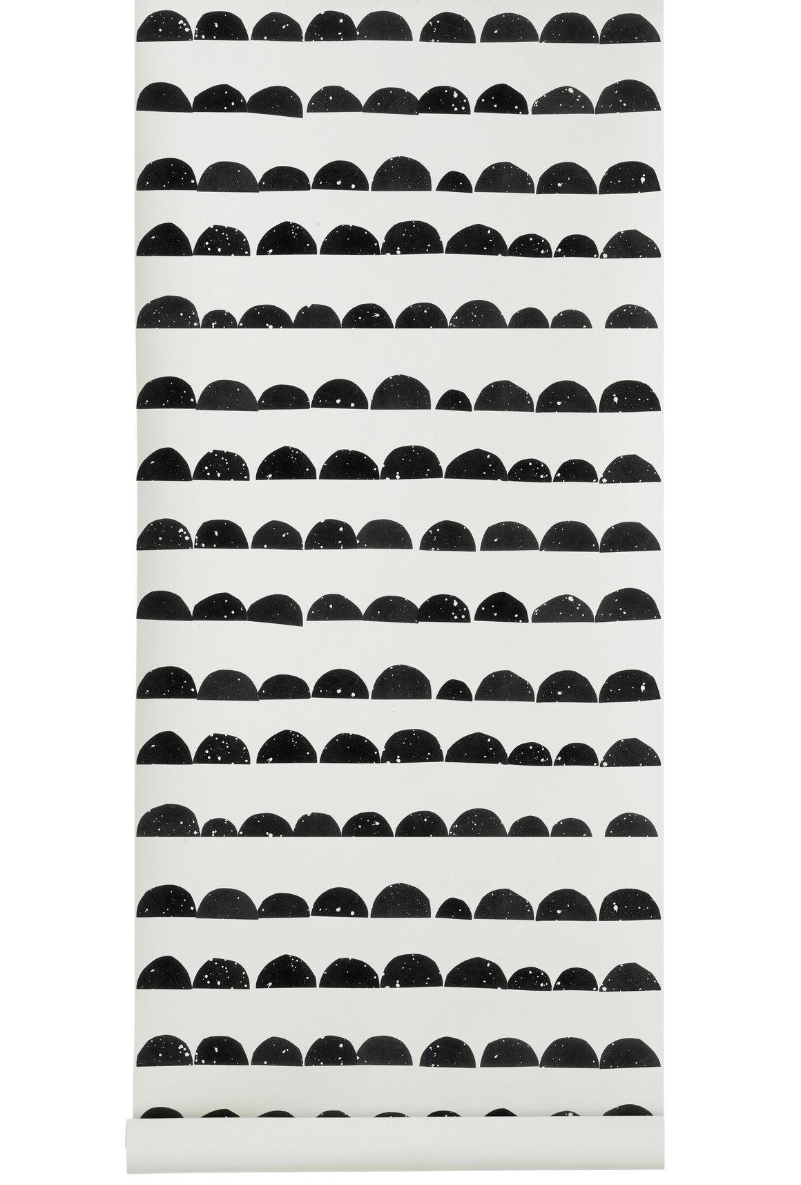 Interni - Sticker - Carta da parati Half Moon - / 1 striscia - Larg 53 cm di Ferm Living - Nero, Bianco - Tela