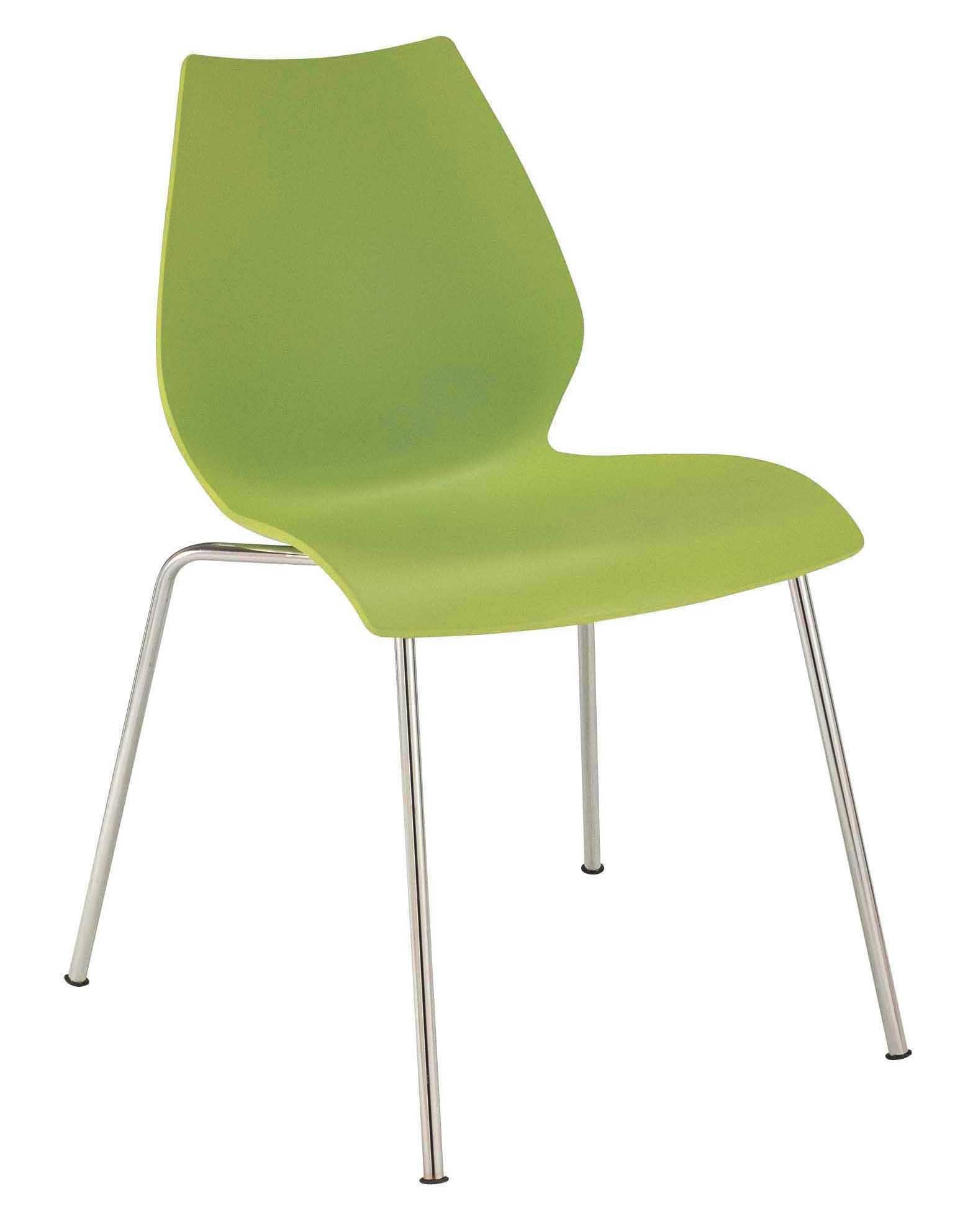 Mobilier - Chaises, fauteuils de salle à manger - Chaise empilable Maui / Plastique & pieds métal - Kartell - Vert - Acier chromé, Polypropylène
