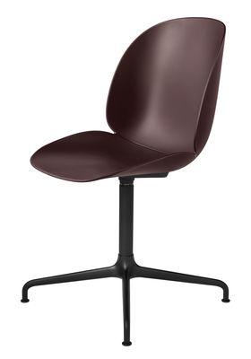 Chaise pivotante Beetle / Gamfratesi - Gubi noir,bordeaux en métal