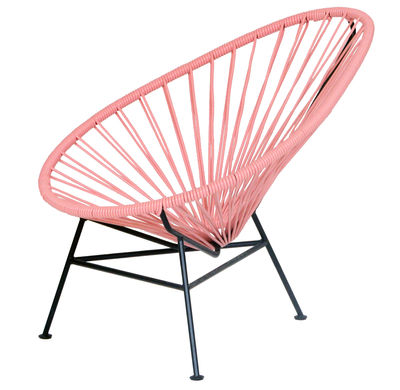 Furniture - Kids Furniture - Mini Acapulco Children armchair by OK Design pour Sentou Edition - Dusty Pink - Lacquered steel, Plastic material