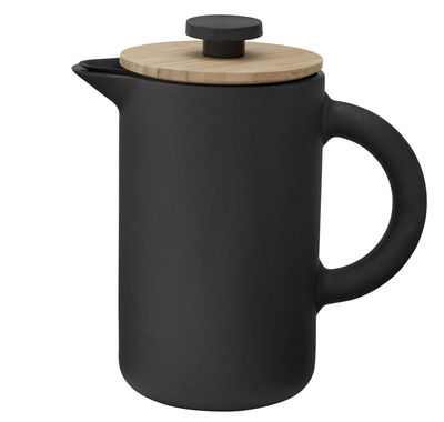 Tableware - Tea & Coffee Accessories - Theo Coffee maker - / 0,8L by Stelton - Matt black & bamboo - Bamboo, Enamelled sandstone, Silicone
