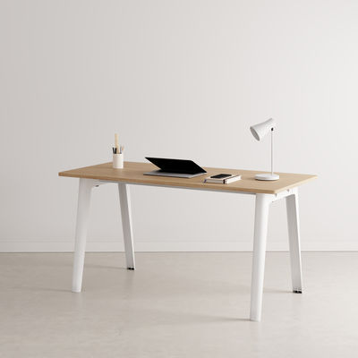 Furniture - Office Furniture - New Modern Desk - / 150 x 70 cm - Eco-certified oak by TIPTOE - Cloud White - Powder coated steel, Solid fir with oak veneer