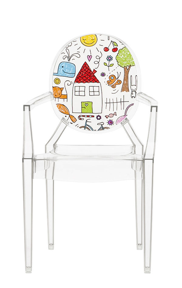 Mobilier - Mobilier Kids - Fauteuil enfant Lou Lou Ghost / Dossier décoré - Kartell - Transparent / Esquisses - Polycarbonate