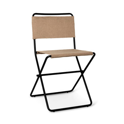 Furniture - Chairs - Desert Folding chair - / Recycled plastic bottles by Ferm Living - Sand canvas / Black - Powder coated steel, Recycled fabric
