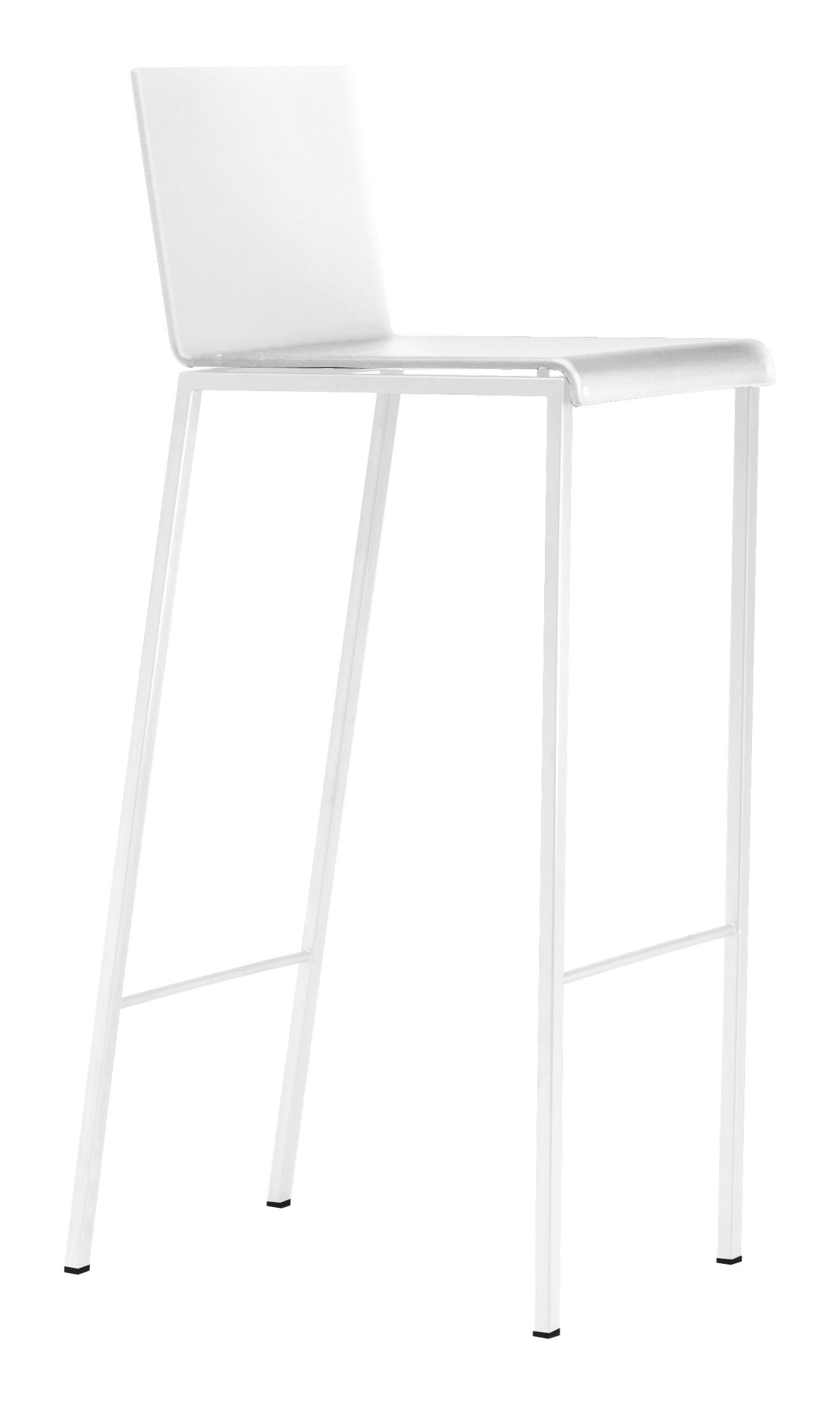 Möbel - Barhocker - Bianco Hochstuhl - Farbe matt - monochrom - Zeus - Sitz  opalweiß - Stuhlbeine weiß - Sitzhöhe 80 cm - Acrylharz, Stahl