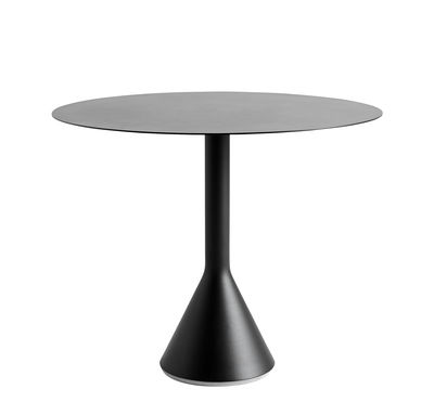 Outdoor - Garden Tables - Palissade Cone Round table - / Ø 90 - R. & E. Bouroullec by Hay - Charcoal grey - Concrete, Epoxy lacquered steel