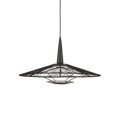 Lighting - Pendant Lighting - Carpa Medium Pendant - / Ø 60 cm - Cotton yarn by Forestier - Ø 60 cm / Black - Cotton threads, Lacquered steel