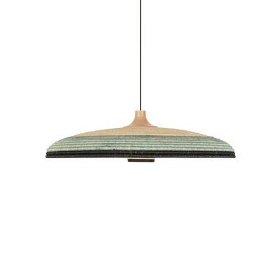 Lighting - Pendant Lighting - Grass L Pendant - / Ø 80 x H 22 cm - Hand-braided abaca by Forestier - Blue - Abaca, Oak