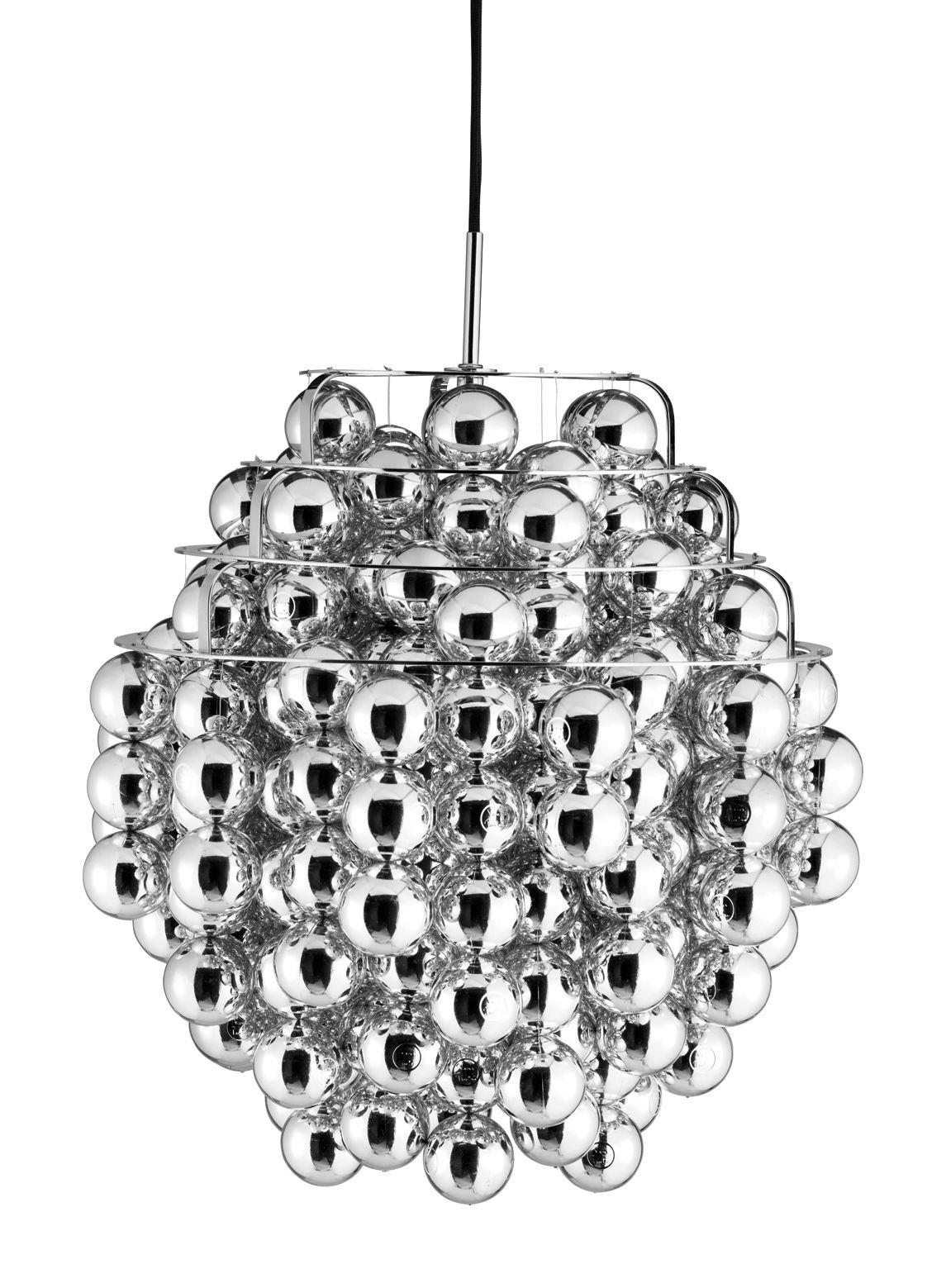 Leuchten - Pendelleuchten - Ball Pendelleuchte Ø 44 cm - Panton 1969 - Verpan - Silberfarben - Plastikmaterial