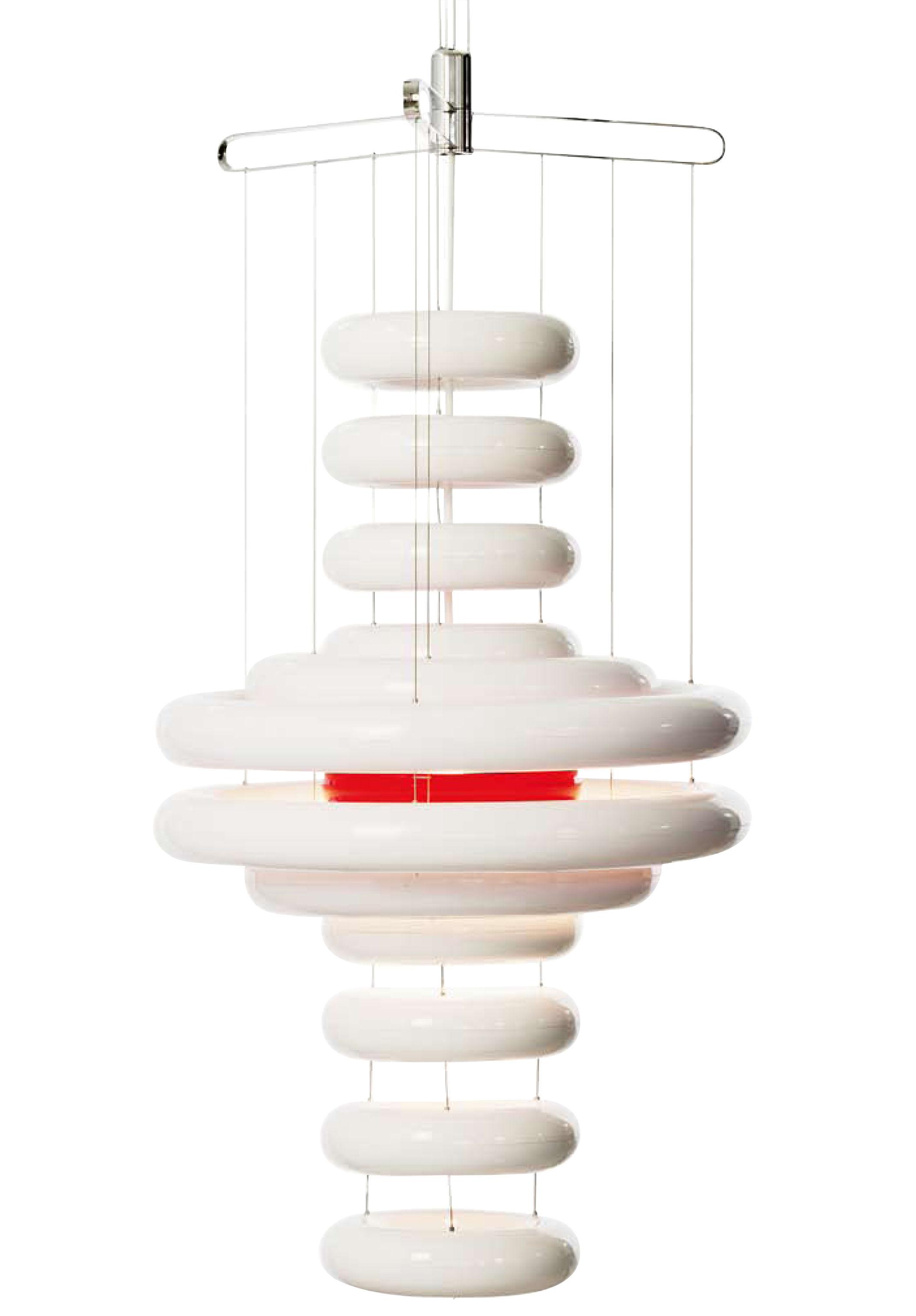 Leuchten - Pendelleuchten - Ufo Pendelleuchte H 95 cm - Limitierte Auflage - Panton 1975 - Verpan - weiß - Polykarbonat