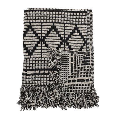 Dekoration - Wohntextilien - Plaid / 160 x 130 cm - Recycelte Baumwolle - Bloomingville - Schwarz & weiß - Recycelte Baumwolle