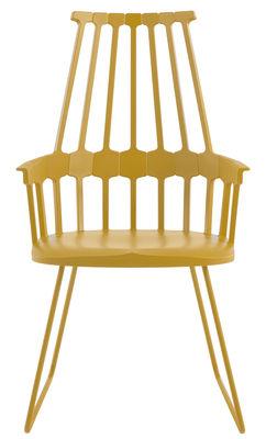 Möbel - Comback Sessel oval - Version Schlitten - Kartell - Gelb - Polykarbonat, Stahl