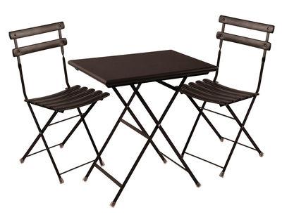 Set table & chaises Arc en Ciel / Table 70x50cm + 2 chaises - Emu bronze en métal