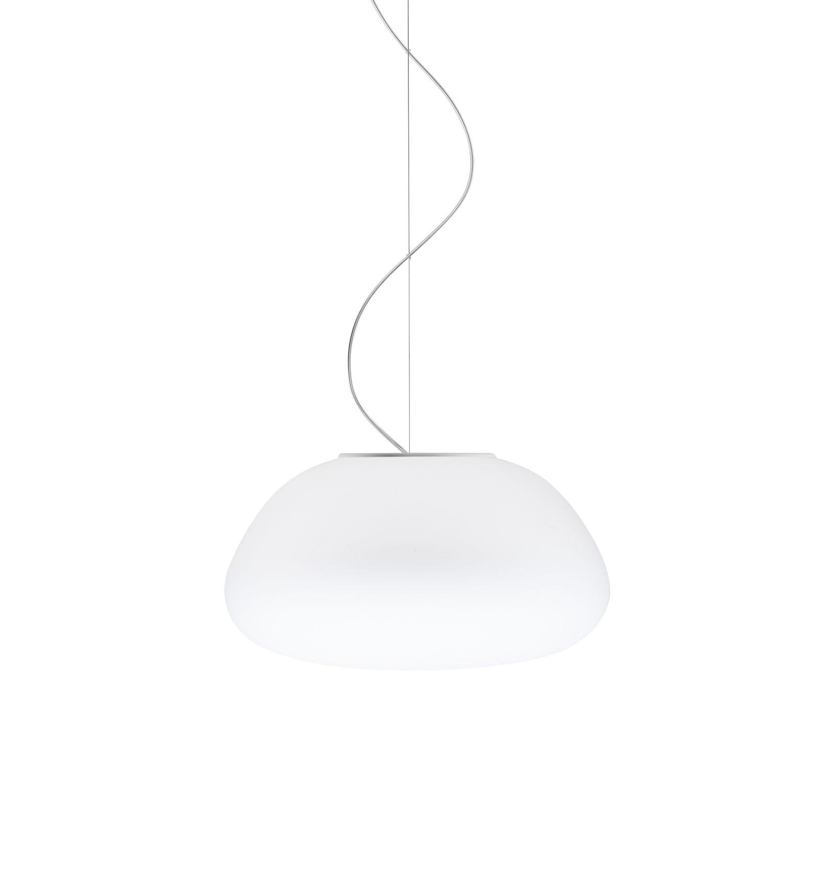 Illuminazione - Lampadari - Sospensione Poga LED - / Ø 42 cm di Fabbian - Bianco - vetro soffiato