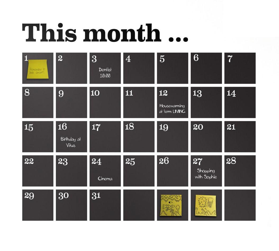 Déco - Accessoires bureau - Sticker Calendrier - Ferm Living - Noir - Vinyle
