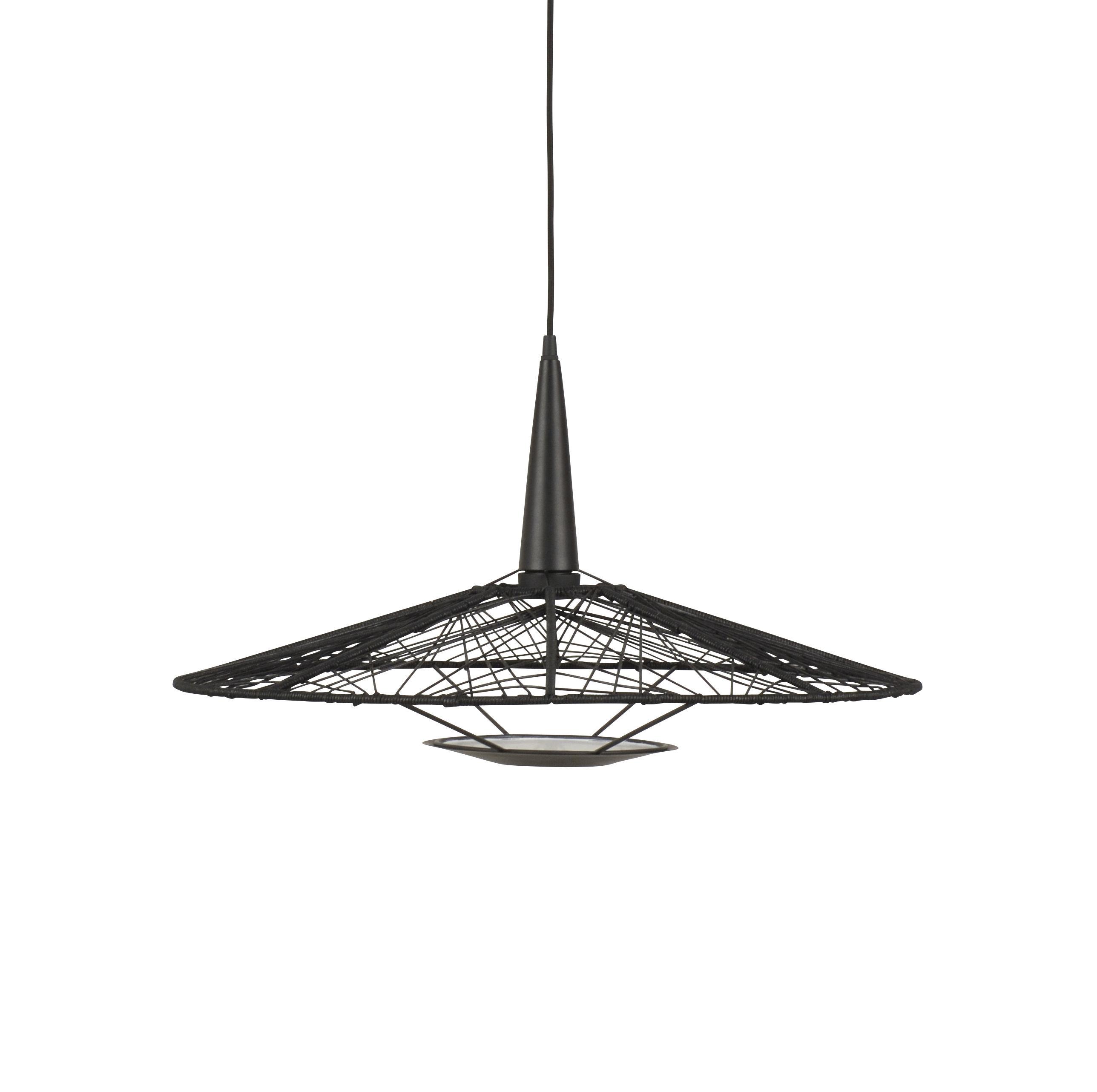 Luminaire - Suspensions - Suspension Carpa Medium / Ø 60 cm - Fils de coton - Forestier - Ø 60 cm cm / Noir - Acier laqué, Fils en coton