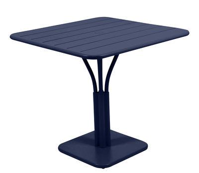 Table Luxembourg / 80 x 80 cm - Pied central - Fermob bleu abysse en métal